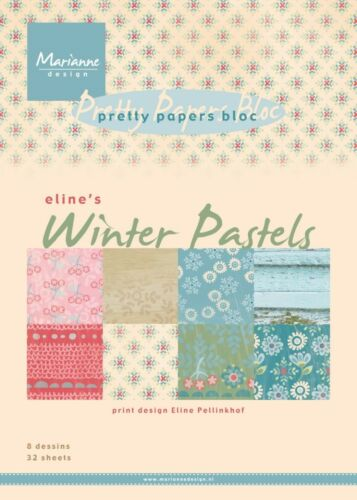 MARIANNE PRETTY PAPERS Bloc//Stack 32 Sheet ELINE/'S WINTER PASTELS PB7046 REDUCED