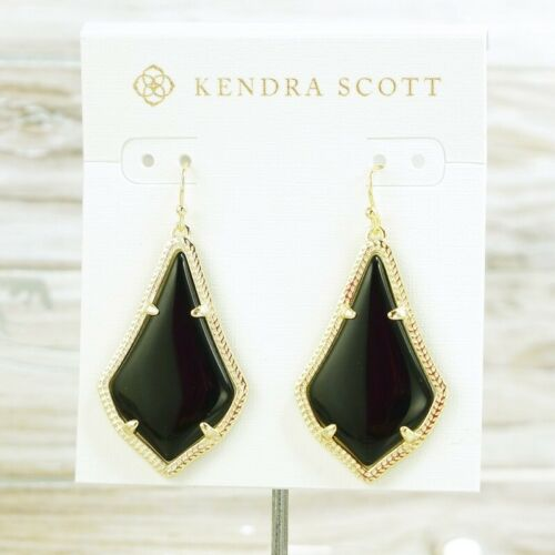 Novo com etiquetas Kendra Scott Alex Preto Gota Brincos Gold Tone