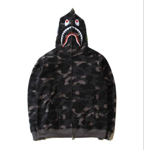 Men/'s Shark Monkey Head Bape Camo Hoodie Sweater Coat Winter Blue//Green//Purple