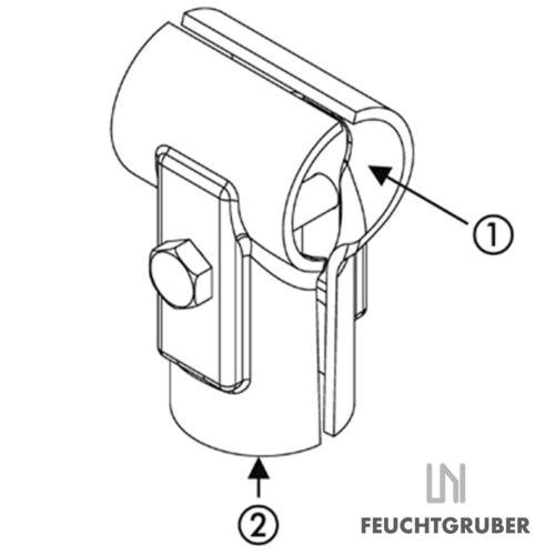 T-Schelle geteilt mit Schraube Rohrschelle Klemmschelle Rohrverbinder tschelle