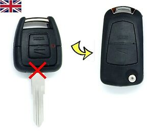 Vauxhall-Opel-Astra-G-Vectra-zafira-2-Button-Converted-FLIP-key-fob-case-amp-Logo