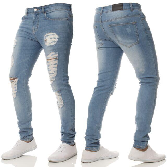 90b8d9c862ec Enzo Mens Super SKINNY Stretch Jeans Knee Ripped Distressed Black ...