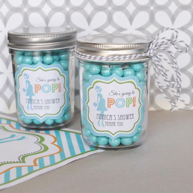 96 Personalized Going To Pop (bleu) Theme Mini Mason Jars Baby Shower Favors