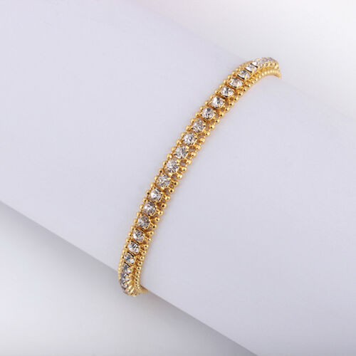 Gold Plated Hip Hop Bracelet Crystal Rhinestone Link Chain Cuff BangleJewelry SS