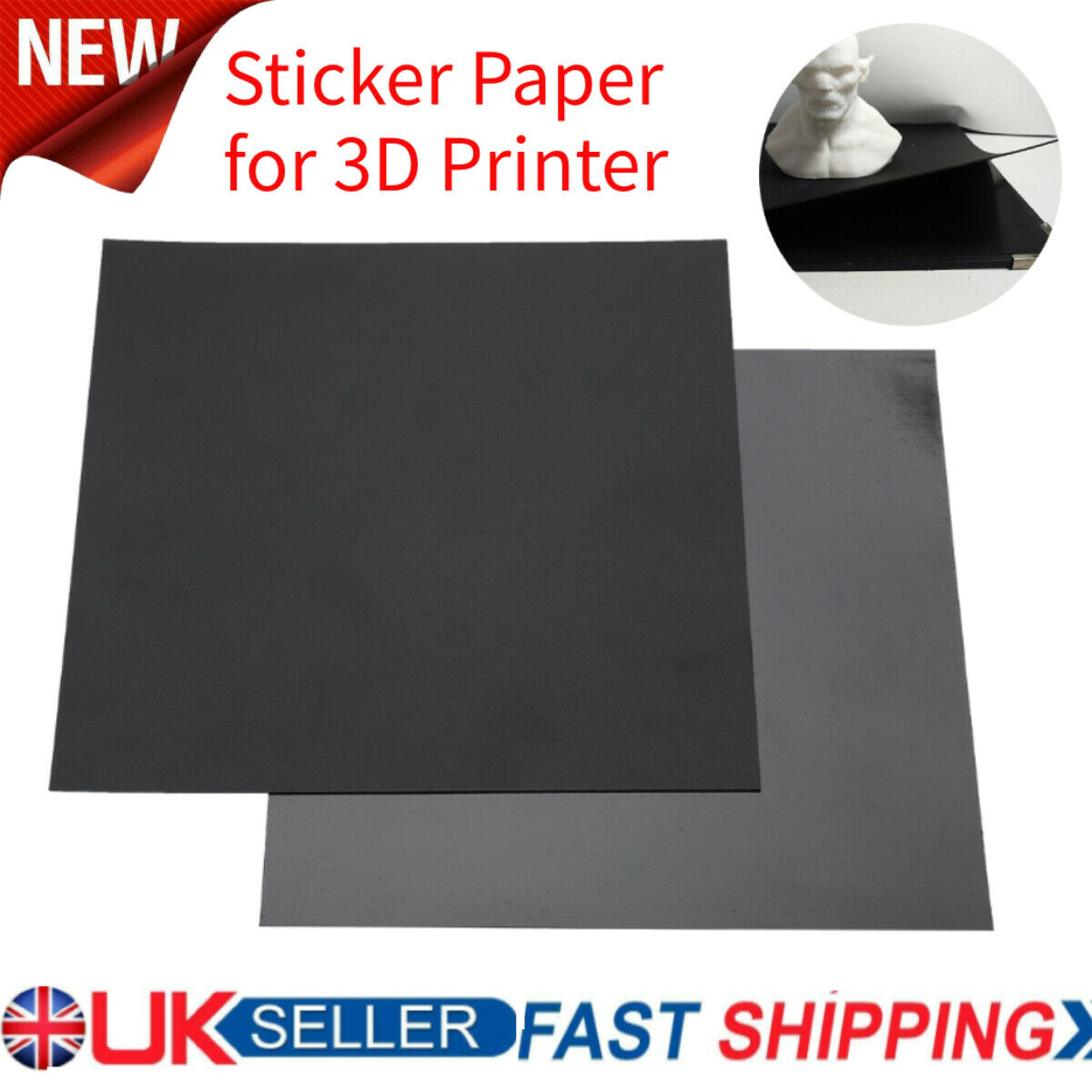 3D Printer Build Plate Tape Magnetic Heated Hot Bed A + B Sticker 220x220mm