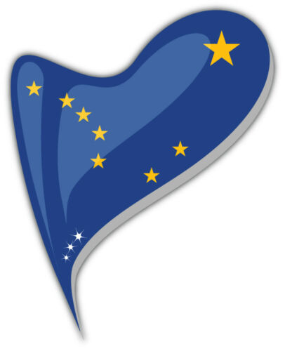 "/'/'SIZES/"" Alaska USA State Flag Heart Shape Car Bumper Sticker Decal"