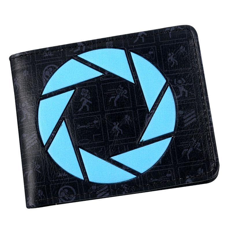 Portal Companion Cube PU Wallet Short Bi-fold zipper ID Cards Holder coin Purse