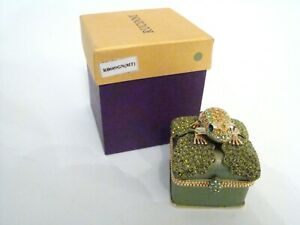 RUCINNI-Jeweled-Trinket-Hinged-Box-Jeweled-Frog-on-Jeweled-Lily-Pad-Box