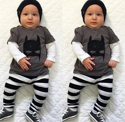 Cute Batman Infant Baby Boy Clothes T-shirt Striped Legging Pants Outfit Set AU