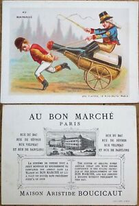 Wine Bottle Harness Racing 1880s French Victorian Trade Card: 'Au Bon Marche'