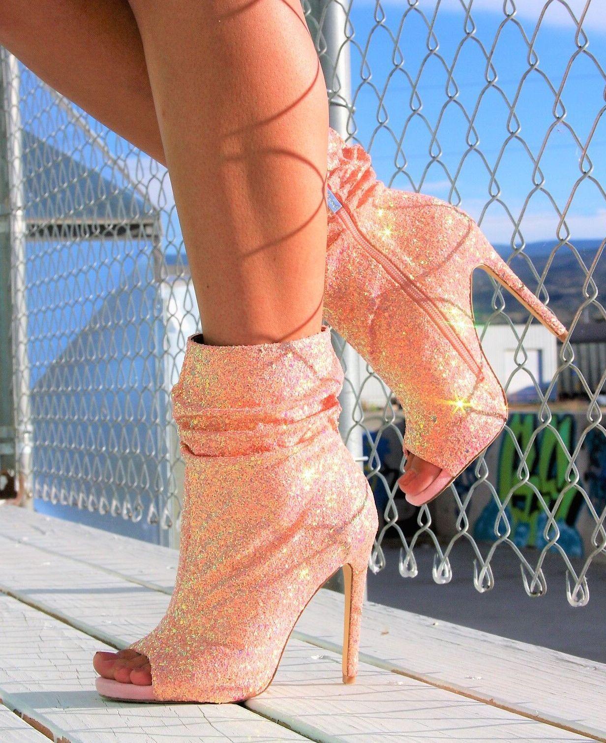Nelly B Bernal Restocked Spotlight Ankle Stivali Heels High Heels Stivali Pink Glitter bbf16b