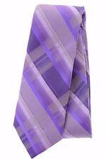 $49 Bar III Men's Neck Tie Chimp Plaid Purple Gray Classic Length Silk OS