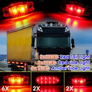 10x-Trailer-Truck-LED-Brake-Turn-Tail-Marker-Light-Kit-Amber-Red-Waterproof