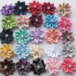 40x-28mm-Upick-satin-ribbon-flowers-bows-with-Appliques-Sewing-Craft-DIY-Wedding