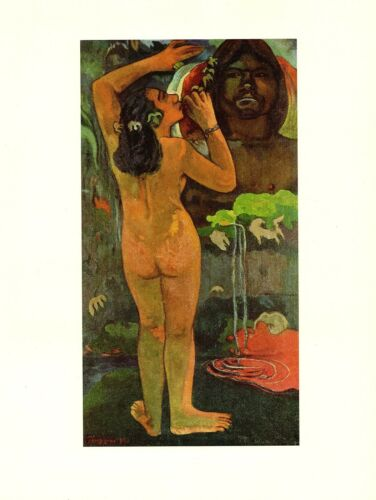 """1972 Vintage GAUGUIN /""""THE MOON AND THE EARTH/"""" TAHITI COLOR offset Lithograph"""