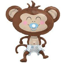 "BOY MONKEY Blue Polka Dot Diaper Pacifier Baby SHOWER 41"" Party Mylar Balloon"