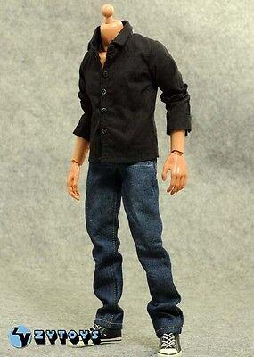 █ ZY Toys 1/6 Black Shirt Jeans for Custom Paul Walker Head Sculpt Hot