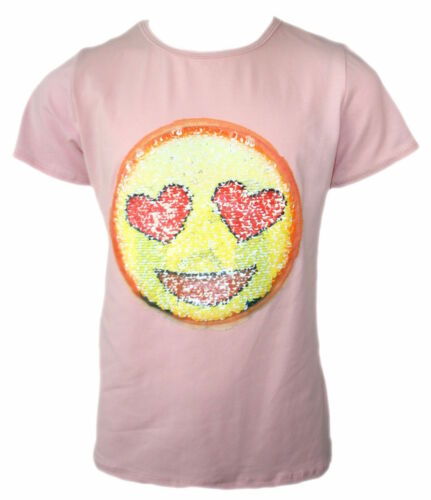 GIRLS EMOJI EMOTICON SMILEY FACE TOPS TEE TOP BRUSH CHANGING SEQUIN NEW AGE 3-14