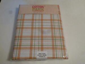 Spring-Summer-Cotton-Tablecloth-Tangerine-Orange-Green-Ivory-Plaid-4-Sizes-NEW