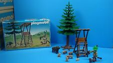 Playmobil 3741 Hunter's Stand dog tree rabbit figure wildhog rifle Geobra toy
