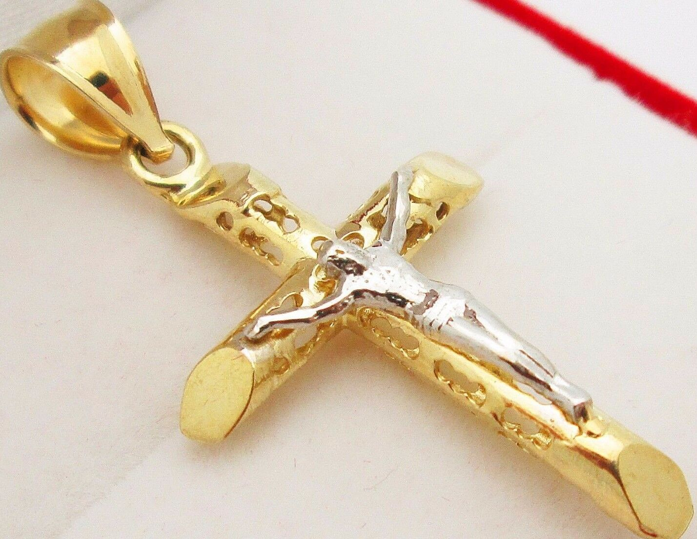 Mens 10k Two Tone gold Cross Charm Crucifix Pendant 1.9 inch