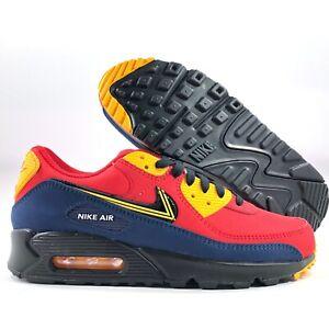 Nike-Air-Max-90-Premium-London-City-Pack-Red-Black-Yellow-CJ1794-600-Men-039-s-8-8-5