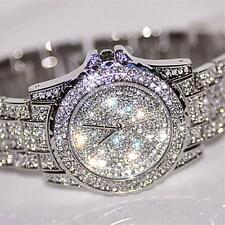 Luxury Stainless Steel Womens Watch Lady Rhinestone Ceramic Crystal Quartz Watch