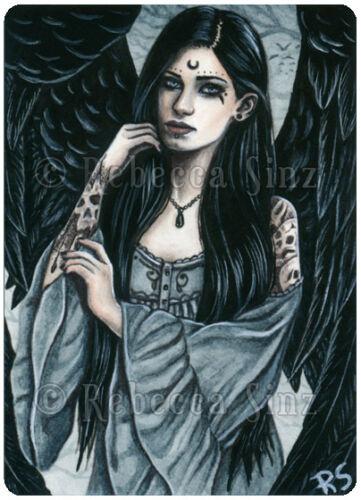 ACEO LE PRINTS Gothic Fantasy Art Angel Obsidan Black Wings Skulls Gray Tattoos