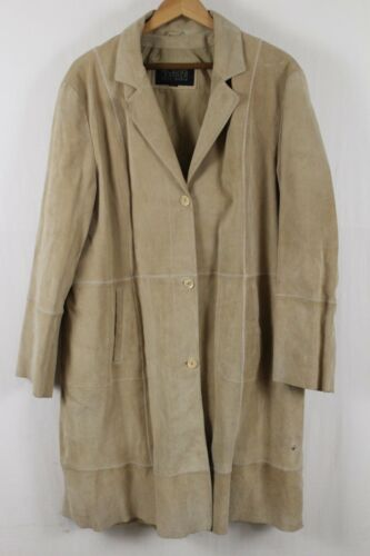 Wilsons Suede Leather Womens Tan Trench Coat Size