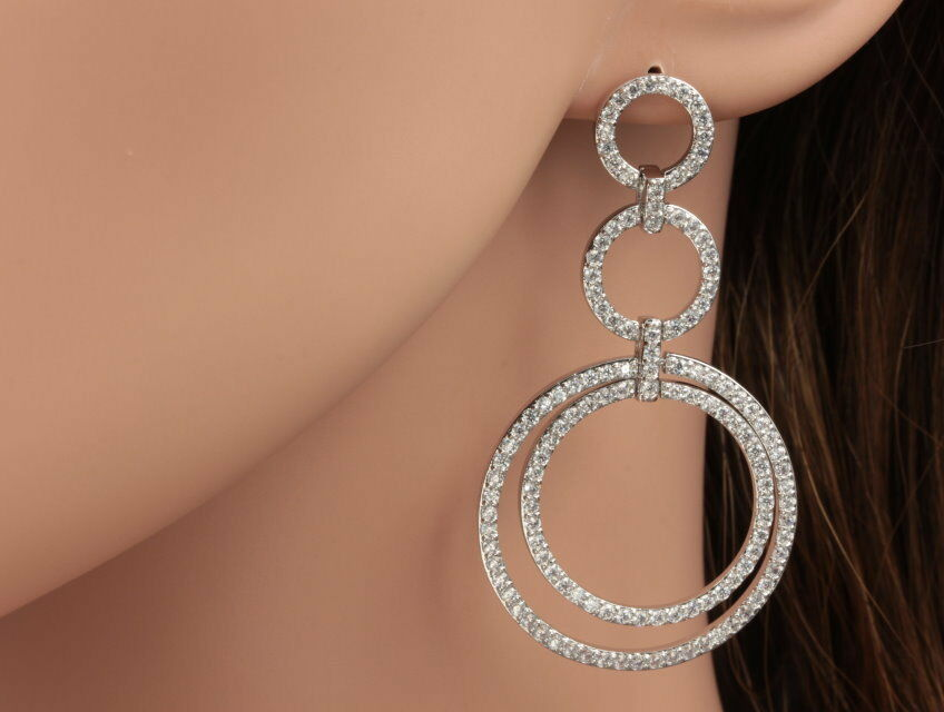 Micro pave Cubic Zircon circles Wedding bride white gold plate stud earrings A13