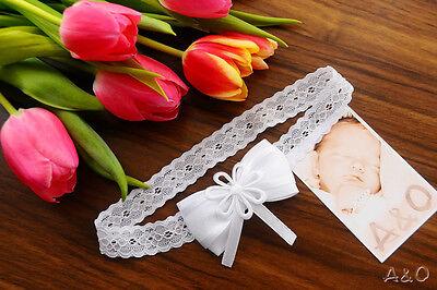Haarband Kopfband Stirnband ab 0 Mon Baby /& Kinder Weiß Taufe weiße Schleife NEU