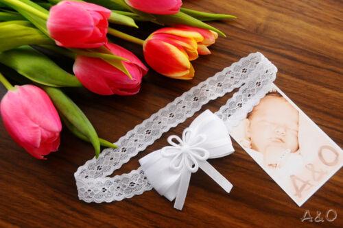 Haarschmuck Baby Haarband Weiß Taufe Fest Schleife ab 0 Mon Stirnband Kopfband