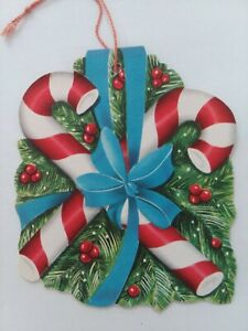 Vtg-CANDY-CANES-Double-Side-Hanging-ORNAMENT-CHRISTMAS-GREETING-CARD