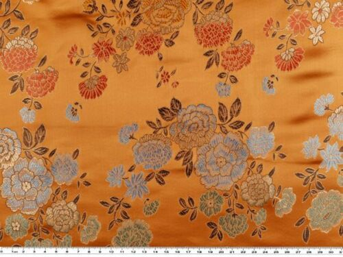 ca China Jacquard mit Blumen 90cm, orange