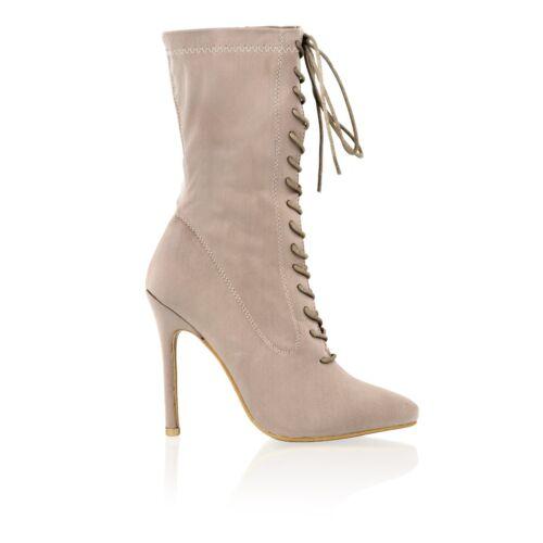 Lycra Hauts Stiletto Taille De Femmes Talons Chaussure Bout Pointu Lacet Bottine nSRwOZUx