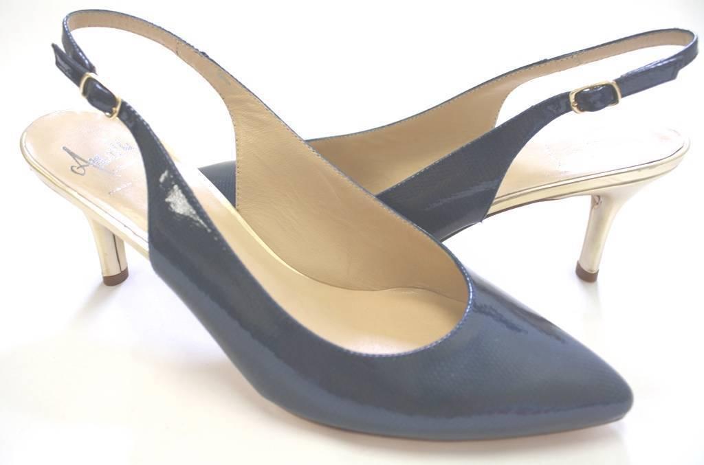 Donna Shoes Amalfi by Rangoni PHEBE Patent Slingback Pumps Patent PHEBE Pelle Lizard Blue 0d8966