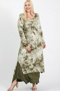 Women-Plus-Size-LONG-SLEEVE-TIE-DYED-PRINT-WITH-SOLID-LAYERED-DRESS-1XL-2XL-3XL