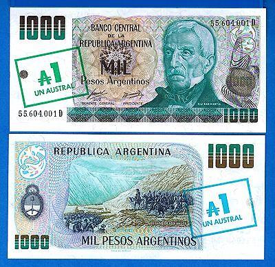1  AUSTRAL  1985   suffix D  P 320  Uncirculated Banknotes ARGENTINA