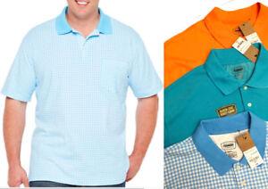 NWT-Mens-Foundry-Polo-Shirt-XLT-2XL-2XLT-3XL-BIG-TALL-Blue-Check-Orange-GOLF