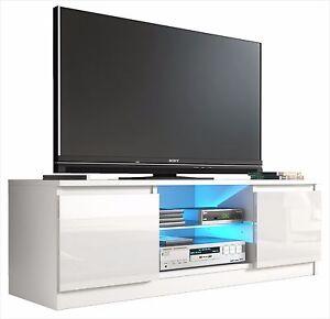 Tv Cabinet White Gloss Door Unit Entertainment Stand Glass Shelf Led