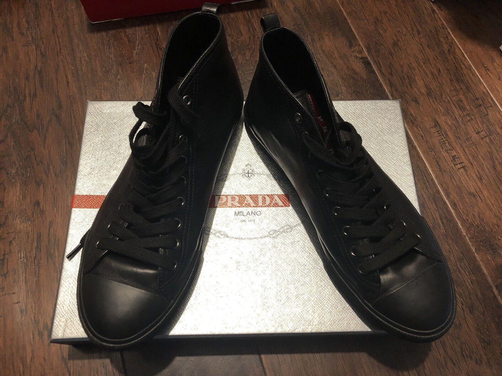 Prada Men's Leather High Top scarpe da ginnastica US 8
