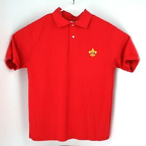 Boy-Scouts-of-America-Unisex-Medium-Red-Polo-Shirt-BSA-cub-scouts-camping-EUC
