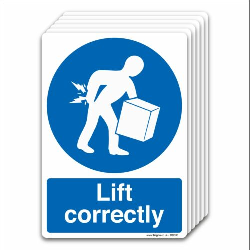 Factory Mandatory Safety Signs Lift correctly Self-adhesive Vinyl Sicker Office