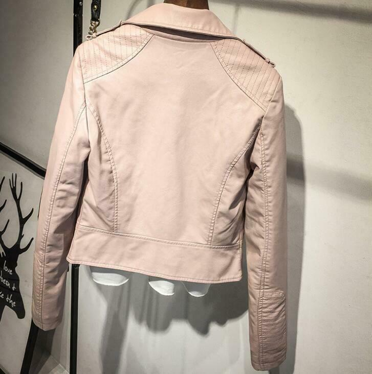 Women Vintage Fashion Slim Leather Jacket Motorcycle Biker PU Casual Short Coat