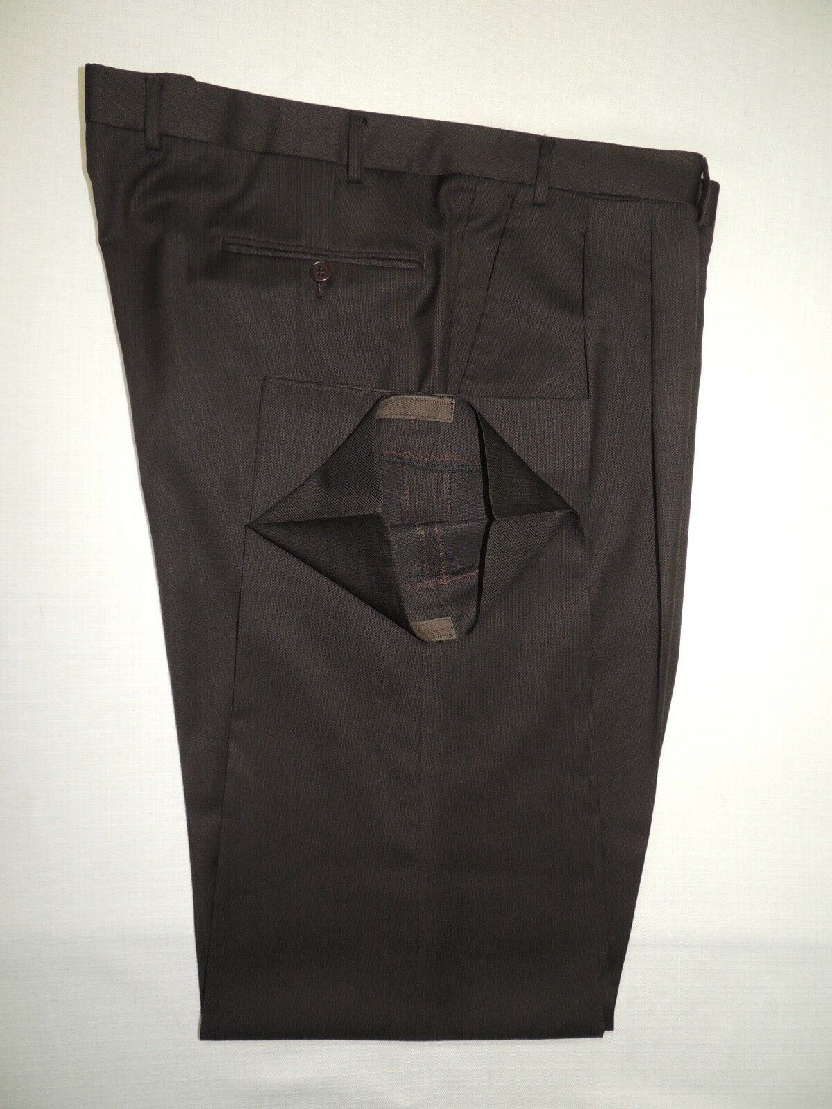 CANALI men's Brown 100% wool pleated trousers pant 43 X 32.1 2