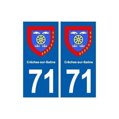 71 Crêches-sur-Saône blason autocollant plaque stickers ville arrondis