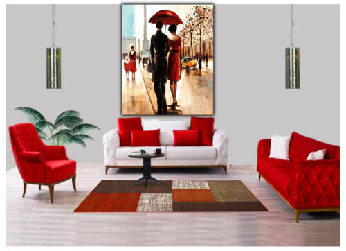 COUPLE WITH RED UMBRELLA OIL PAINT PRINT ON FRAMED CANVAS WALL ART PORTRAIT