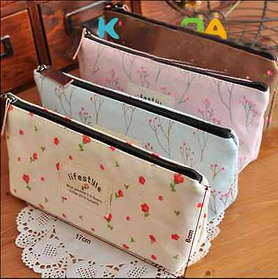 Vintage Flower Floral Pencil Pen Cosmetic Makeup Storage Bag Pouch Case Purse