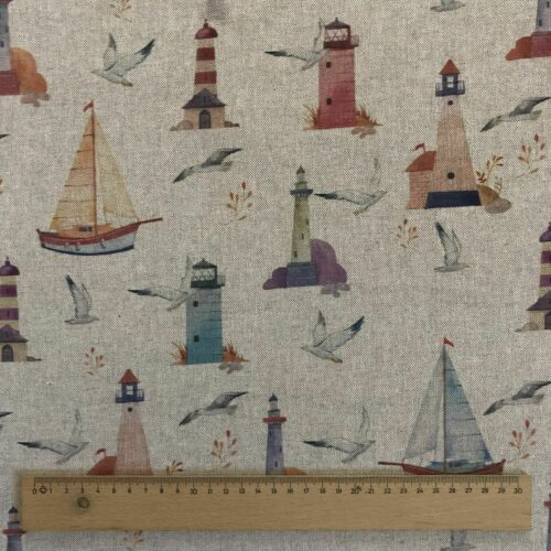 """Sailing Digital Print Cotton Rich Linen Fabric Curtaining Upholstery 54/"""" Wide"""