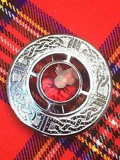 C.C Men's Kilt Fly Plaid Brooch Celtic Design Red Stone/Ladies Shawl Brooch
